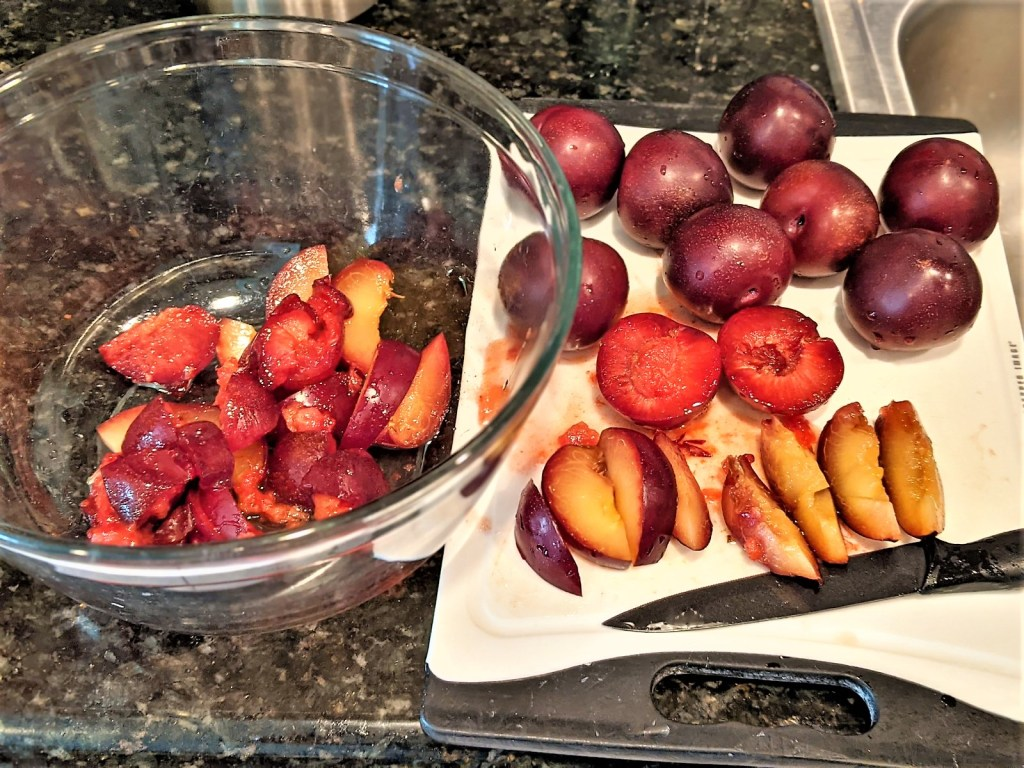 Cutting the plums