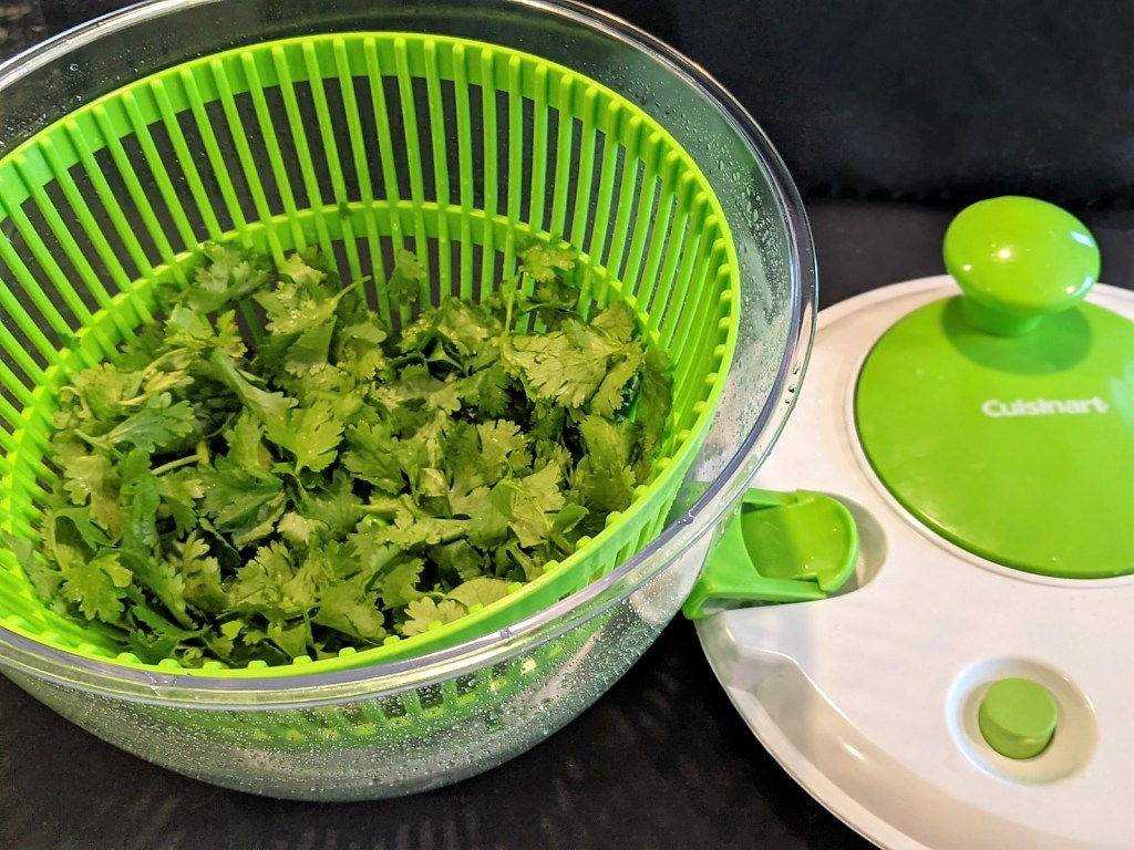 salad spinner with cilantro