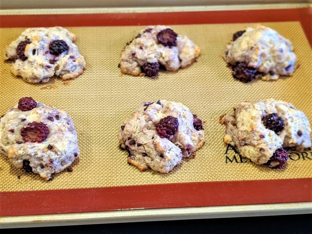 Baked scones on baking pan