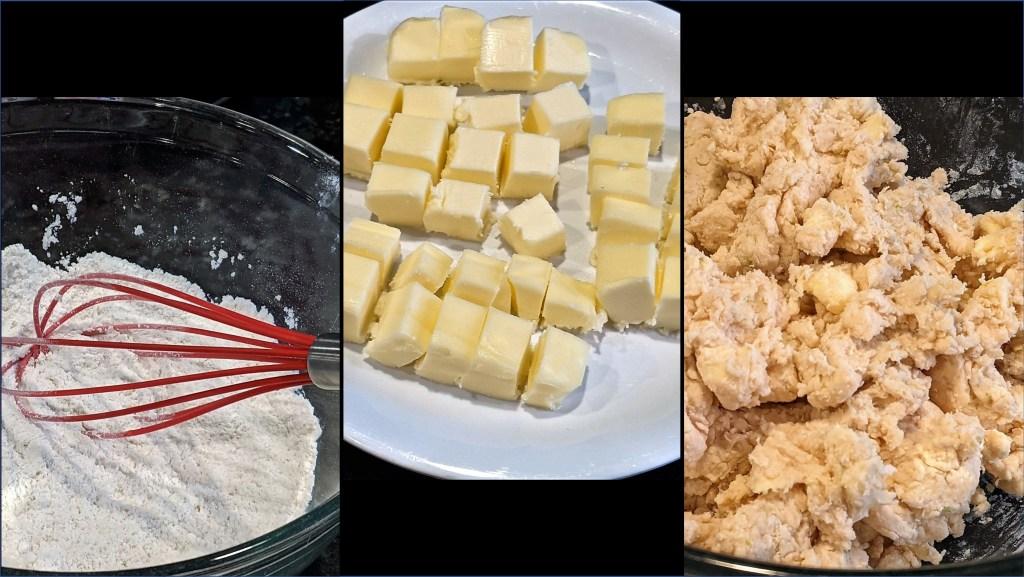 flour, butter, and dough