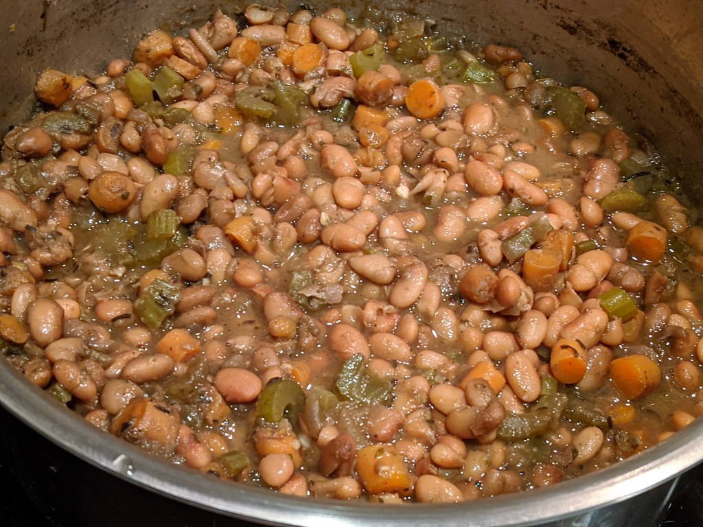 cooked beans in pot