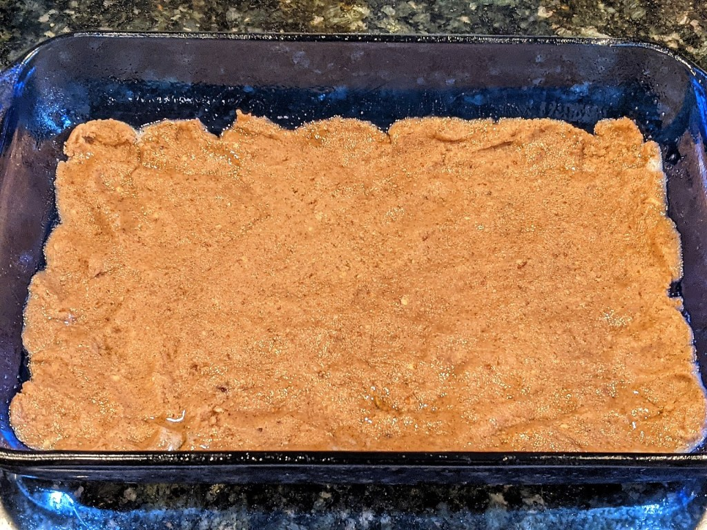 Crumble pressed into pan to form bottom crust