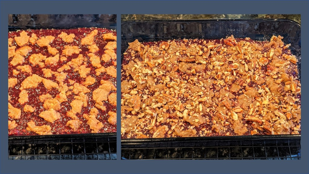 images of pan with berry sauce and crumble