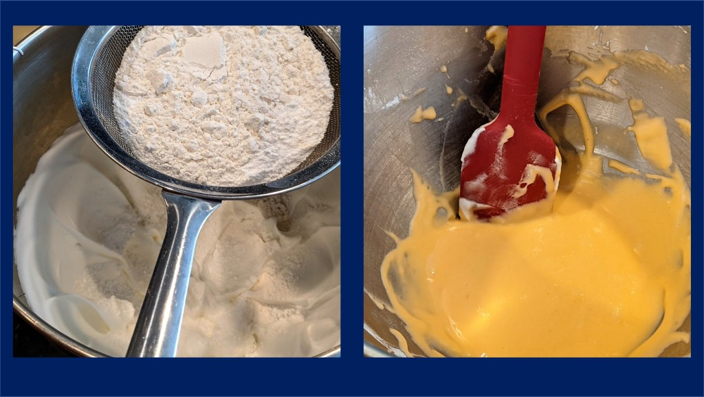 images of mixing bowl with sifter of flour and orange batter