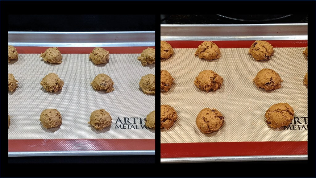 baking pan with dough and baking pan with cookies