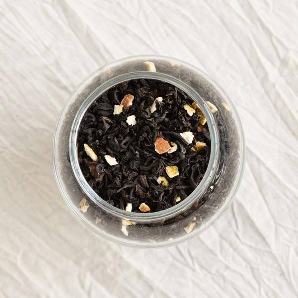 Earl grey tea leaves in a jar