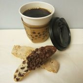 A cup of coffee and biscottis