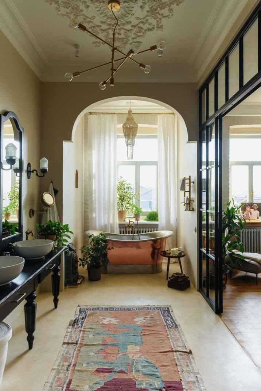 interior design of cozy spacious bathroom