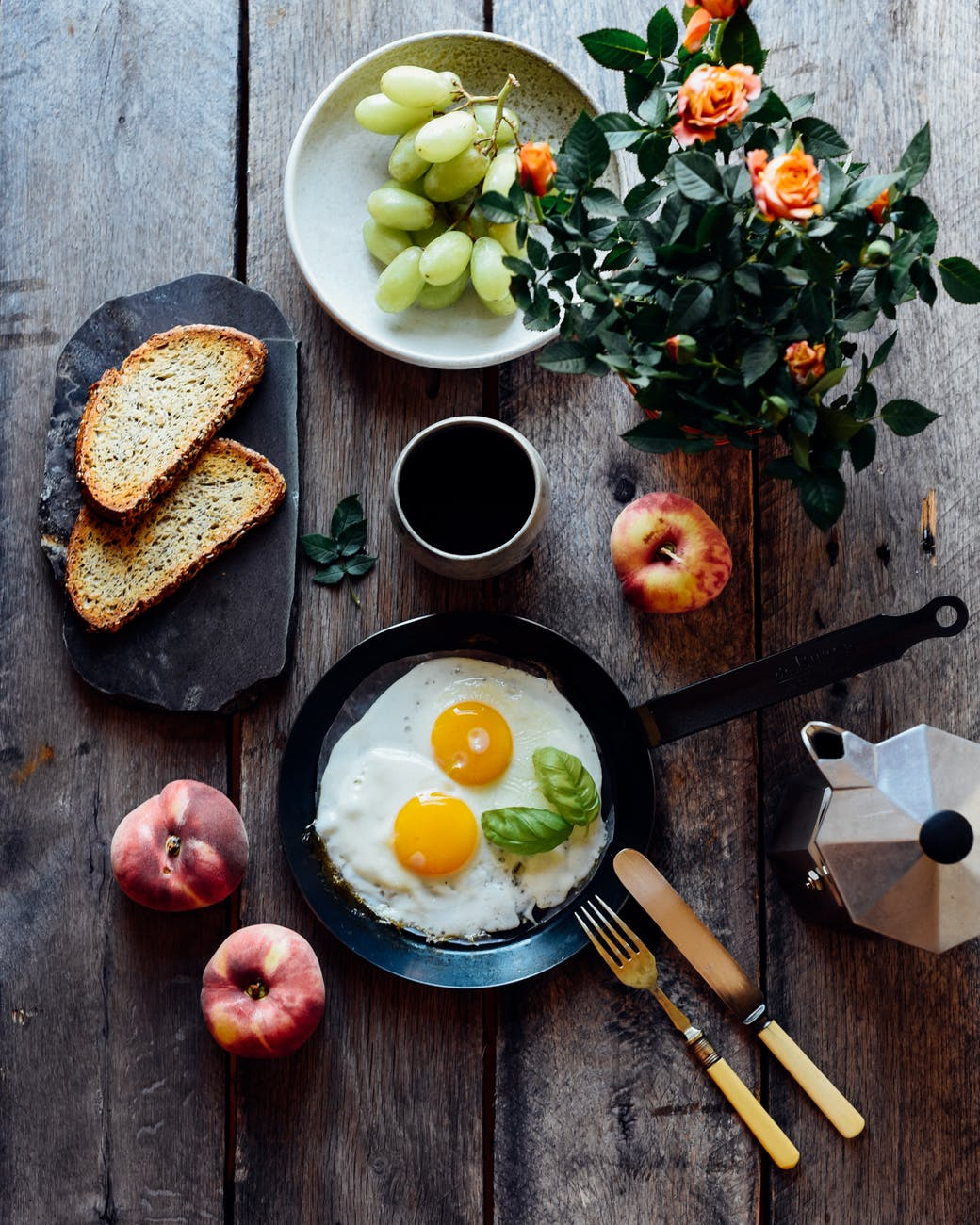 fresh breakfast on decorated table at home