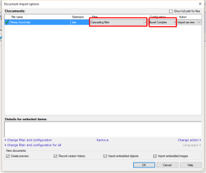 Selecting the Excel Complex filter in memoQ during import