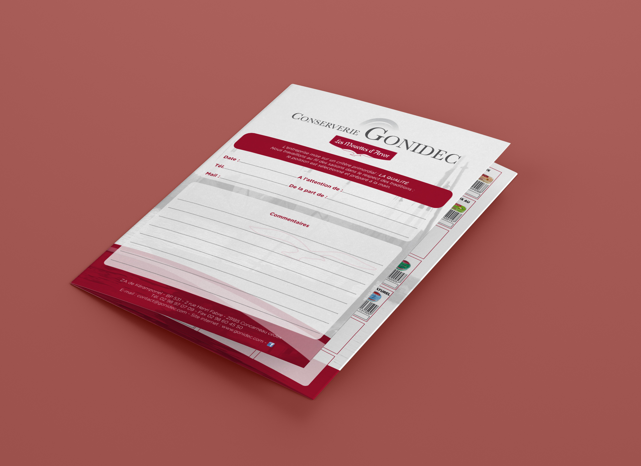 Dépliant A4 3 volets - Conserverie Gonidec - Concarneau
