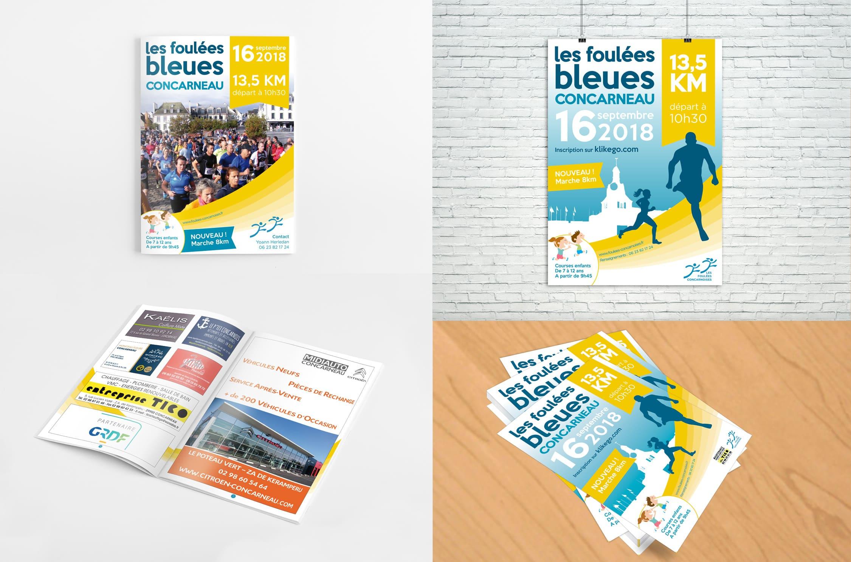 Brochure, Affiche et Flyer - Les Foulées Bleues - Concarneau