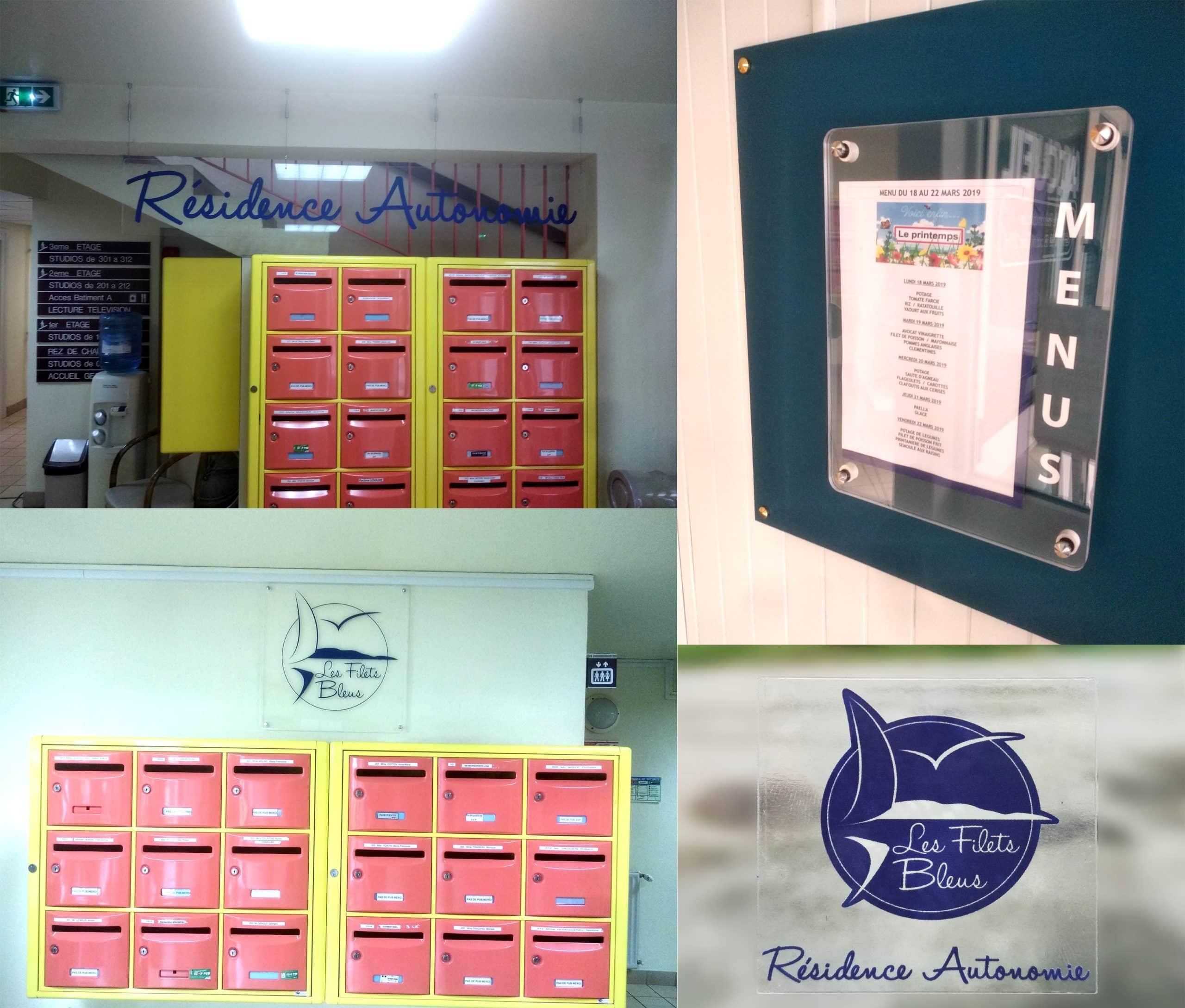 Plaques PMMA transparentes 8 mm avec lettrage adhésif + stickers - Foyer logement Résidence Autonomie - Les Filets Bleus