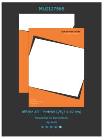 Modèle d'affiche disponible sur notre site d'imprimeur en ligne que vous pouvez personnaliser pour faire la publicité de votre boutique, découvrez d'autres modèles.