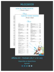 Modèle d'affiche restaurant que vous pouvez retrouver sur notre site directement.