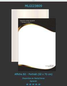 D'autres exemples affiches B2 publicitaire disponibles pour l'impression sur notre site.