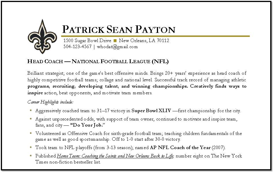 Sample Resume For College Football Coach - frizzigame
