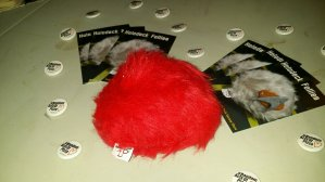 Before the Panago pizza showed up, a tribble guards the table
