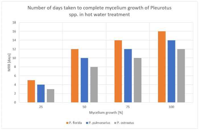 Figure 42: Number of days taken to complete mycelium growth for Pleurotus spp. in hot water treatment