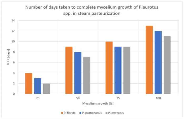 Figure 41: Number of days taken to complete mycelium growth for Pleurotus spp. in steam pasteurization