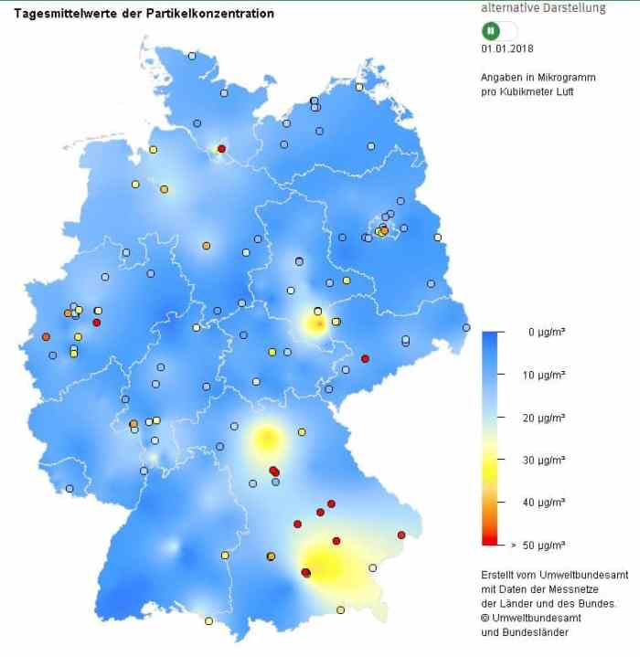Figure 24: Average values of fine dust in different German cities on the 01.01.2018