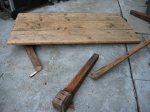 deconstructing rustic antique table