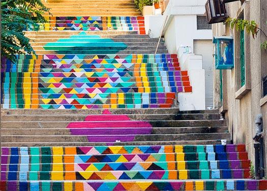 street art on the steps of beirut by dihzahyners
