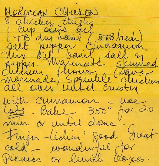 handwritten moroccan chicken recipe