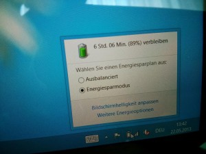 Surface Pro Energieoptionen