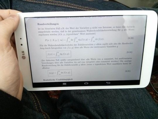 LG G Pad 8.3 und ein PDF