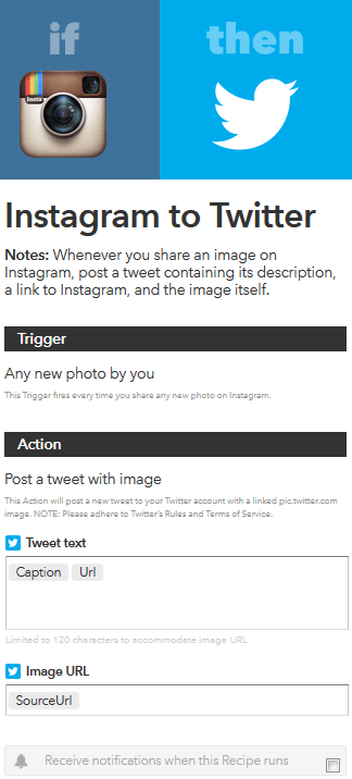 Instagram-Twitter ifttt recipe