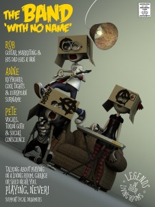 Band with No Name poster 3d Illustration- modelled and rendered in StrataStudio3D
