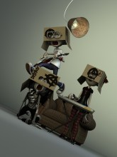 Band with No Name characters 3d Illustration- modelled and rendered in StrataStudio3D