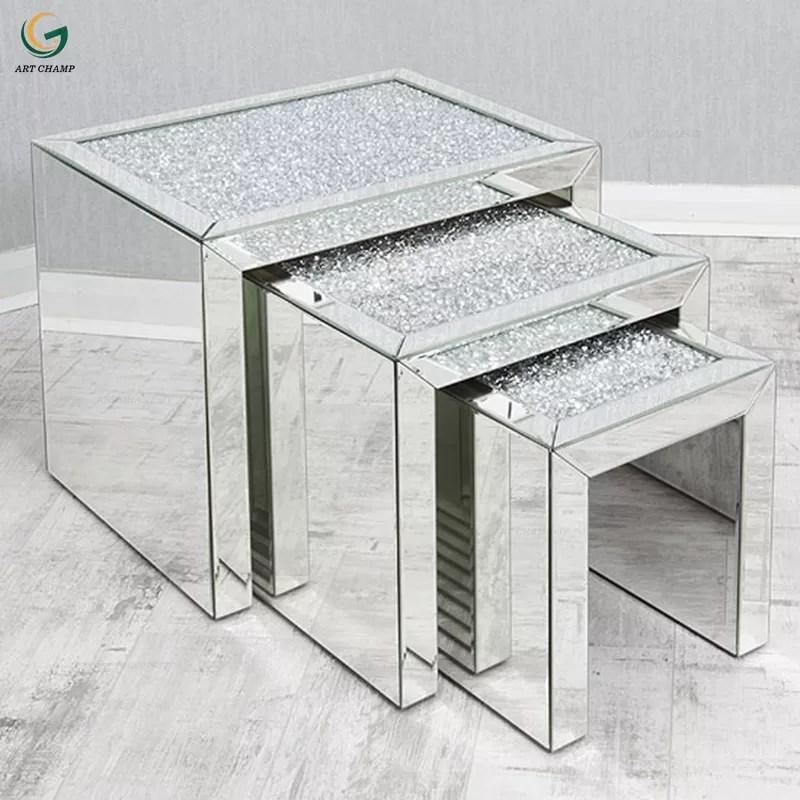 set 3 furniture living room modern nesting wood mirrored coffee table