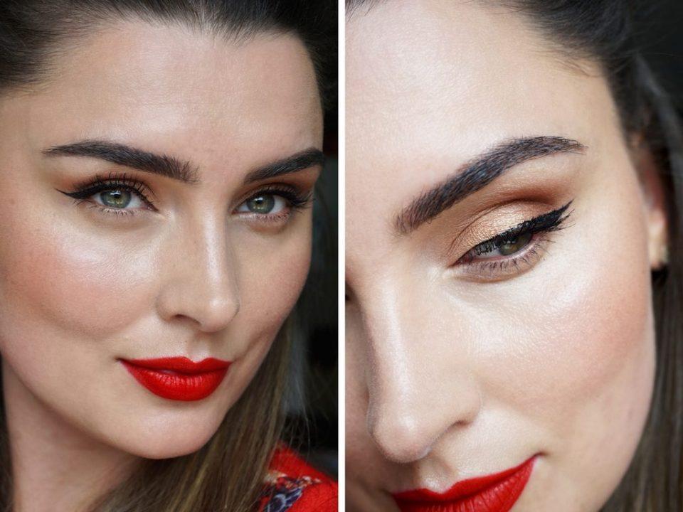 makeuplook winged eyeliner og røde læber
