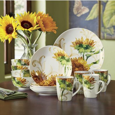 16 Piece Prairie Gold Dinnerware Set From Seventh Avenue
