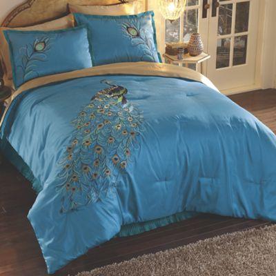Embroidered Peacock Comforter Set From Midnight Velvet