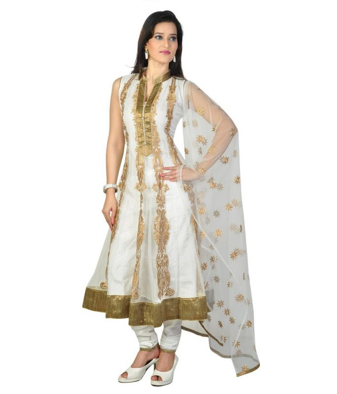 Buy Art Solid White And Gold Net Anarkali Suit Price and Features.Shop  Art Solid White And Gold Net Anarkali Suit Online.