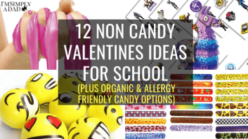 Simple non candy valentines ideas for school. Find fun gift ideas that are perfect for everyone, preschoolers and toddlers, older boys and girls, and teachers can find some fun ideas too. I also included my favorite organic and allergy friendly candy options too.