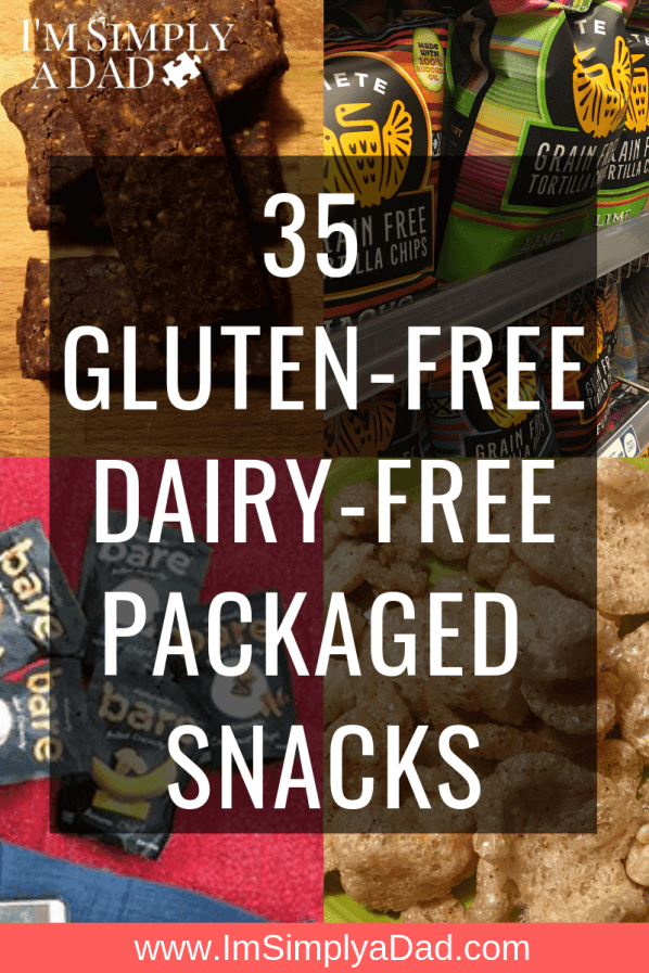 35 ideas for gluten & dairy free packaged snacks for those on a GFCF diet or just looking for healthy on the go snacks. Perfect for kids and parents alike. Find easy snacks to buy that will fit almost any diet (gluten free, dairy free, low carb, paleo, keto...) They are sorted by taste and texture from sweet treats, to savory to crunchy to high protein snacks. #gfcf #glutenfree #dairyfree #snacks