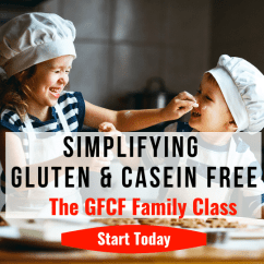 Image of 2 kids baking and smiling: Text: Simplifying Gluten and Casein Free, The GFCF Family Class