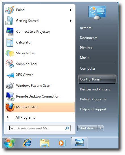 Image result for how to open control panel windows 7