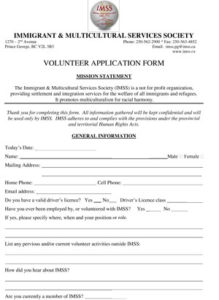 IMSS volunteer form