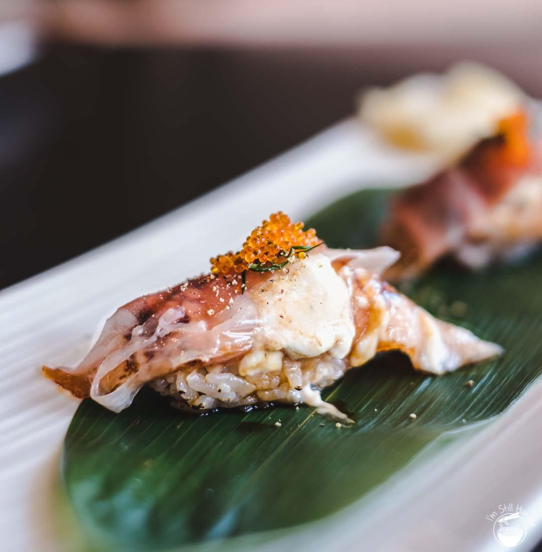 Toshiya Cremorne prosciutto & salmon belly nigiri