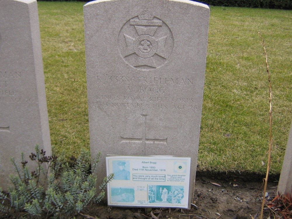 Rifleman Albert Bogg,18th Bn King's Royal Rifle Corps,Died 11/11/1918