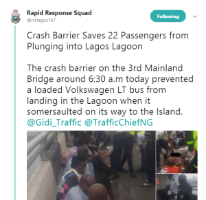 22 people almost fell into the lagoon as bus somersault on 3rd mainland bridge