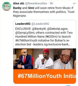 See Nigerians reaction to reports of Banky W, Simi, Debola Lagos contracted with ₦200M for Buhari's re-election