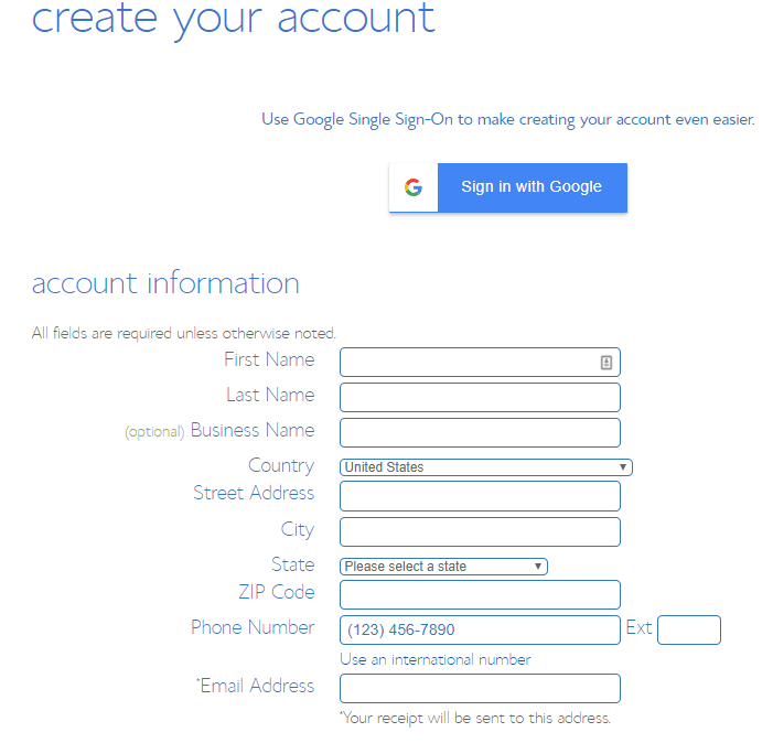 create your account