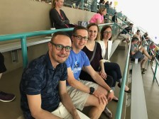 Supporting Allison at Holland Aquatic center with my primary oncologist and two friends from way back (Eric and Janelle)