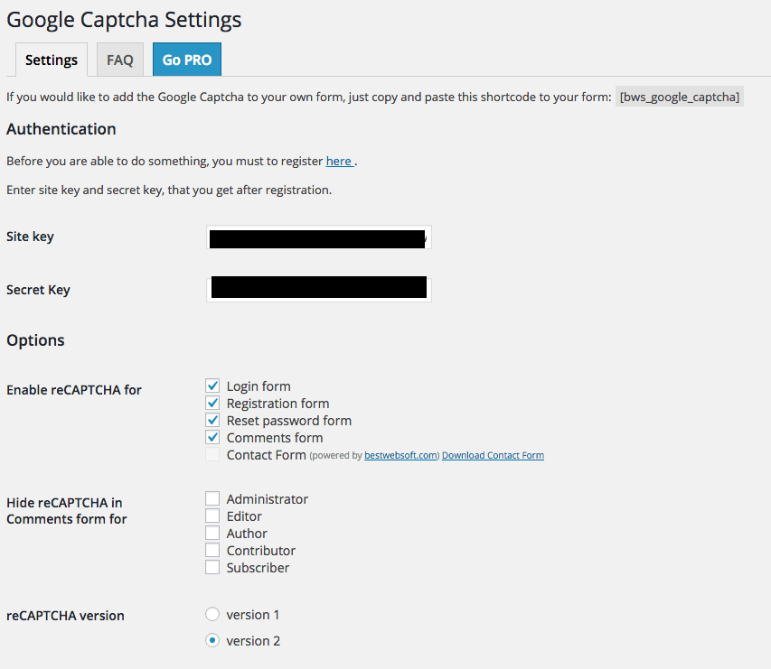 Googlec Captcha Settings